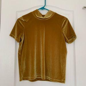 Gold Velvet Mock Neck Top